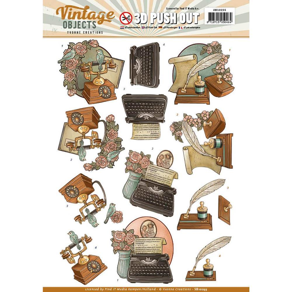 Find It Yvonne Creations Vintage Objects Punchout Sheet - Vintage Communication