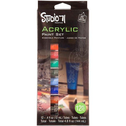 Darice Studio 71 - Acrylic Paint Set 12ml 12 pack - Basics