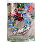 Bucilla Felt Wreath Applique Kit 13.5 inch X17 inch Airplane Santa