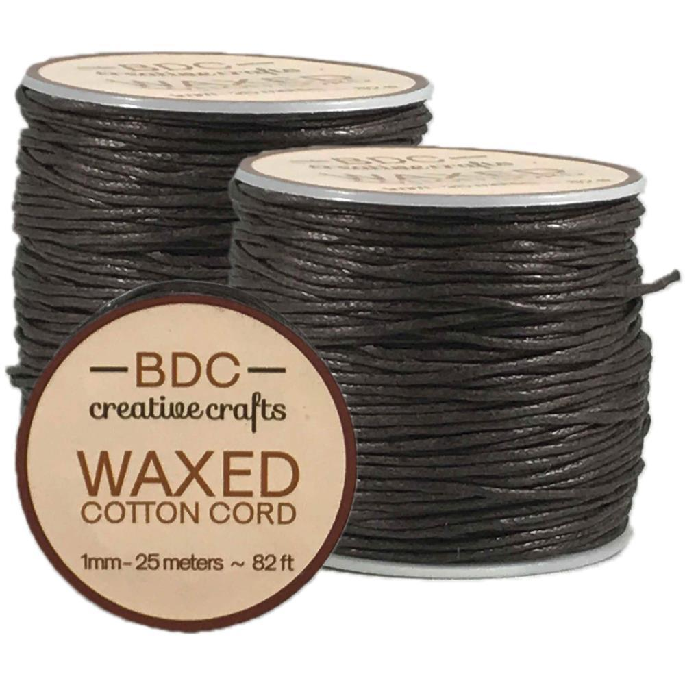 Waxed Cotton Bracelet Cord 1mmX24m - Brown