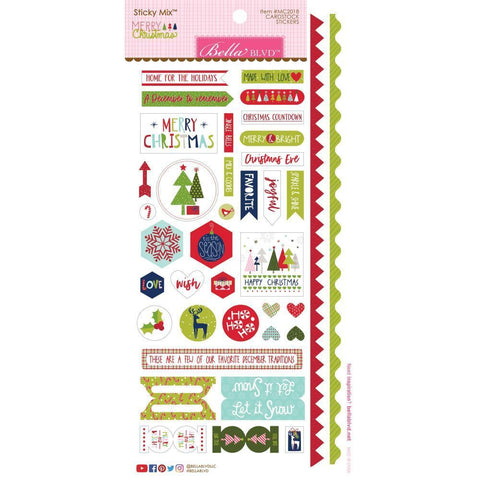 Bella Blvd Merry Christmas Cardstock Stickers 6x12.5 inch - Sticky Mix