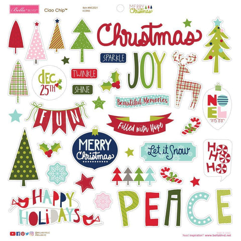 Bella Blvd Merry Christmas Chipboard Stickers 12x12 inch - Icons