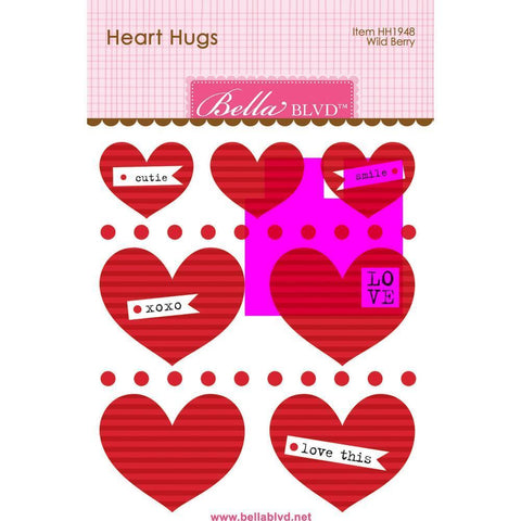 Bella Blvd Legacy Heart Hugs Embellishments 7 pack - Wild Berry