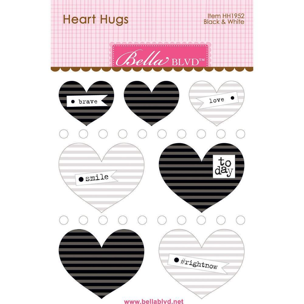 Bella Blvd Legacy Heart Hugs Embellishments 7 pack - Black & White