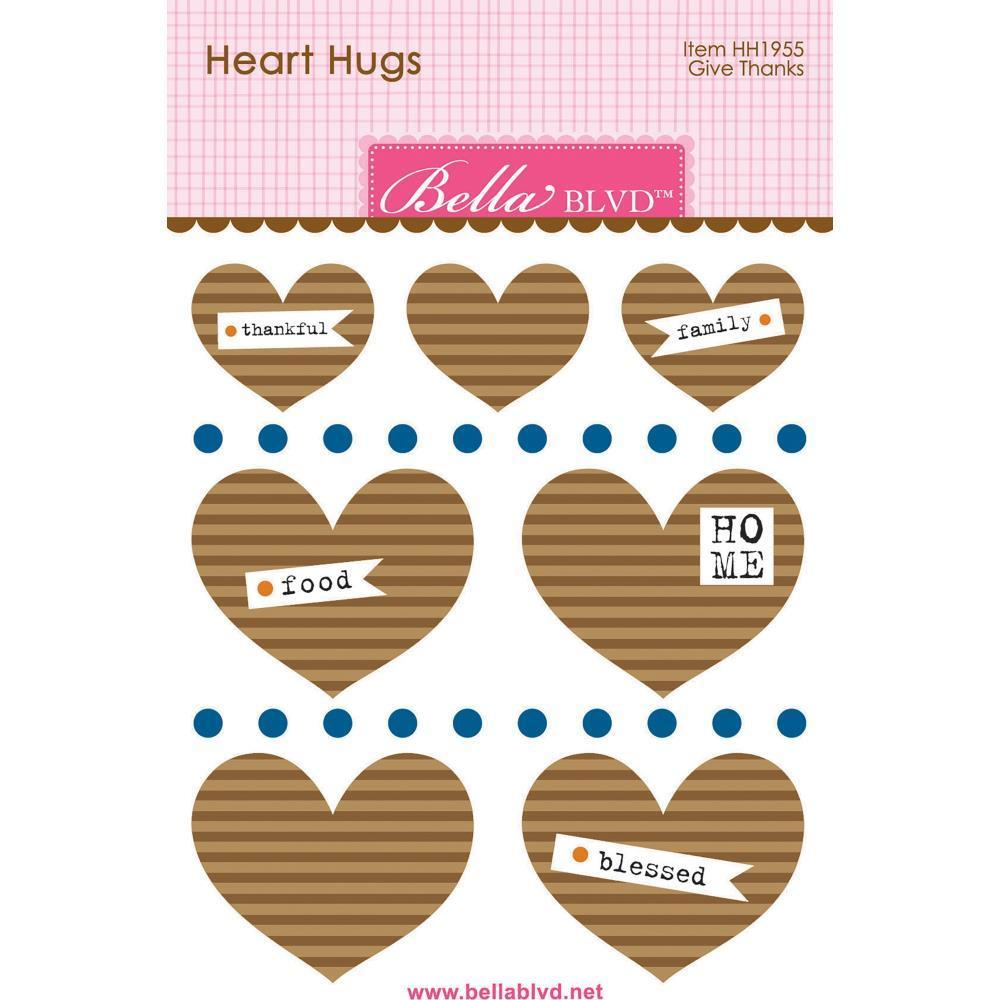 Bella Blvd Legacy Heart Hugs Embellishments 7 pack - Give Thanks
