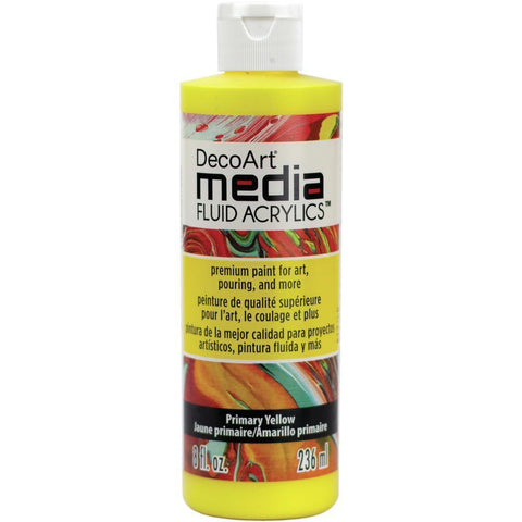 Deco Art - Media Fluid Acrylic Paint 8oz - Primary Yellow