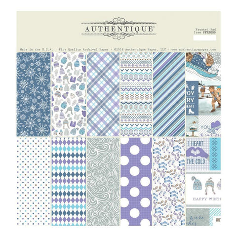 Authentique D/S Cardstock Pad 12x12 inch 18 pack - Frosted, 6 Designs/3 Each