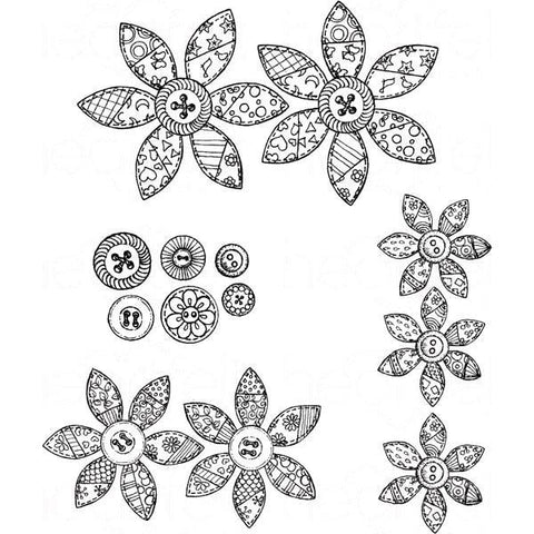 Heartfelt Creations Cling Rubber Stamp Set 5inch X6.5inch Buttons & Blooms