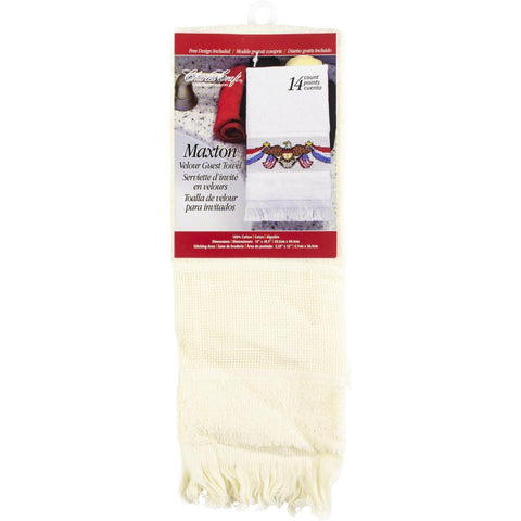 Charles Craft Maxton Velour Guest Towel 14 Count 12x19.5 inch - Ecru