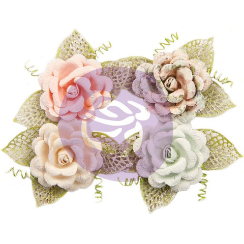 Prima Marketing Poetic Rose Paper Flowers 4 pack - Untold Stories with Leaves