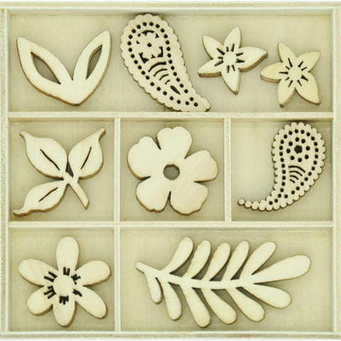 Kaisercraft Themed Mini Wooden Flourishes 45per pack - Paisley