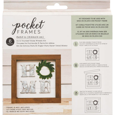 American Crafts - Pocket Frames Insert Kit 6X5.5in 5 per pack - Home Wreath with Insert