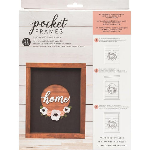 American Crafts - Pocket Frames Insert Kit 8X10in 11 per pack - Home Wreath with Insert.