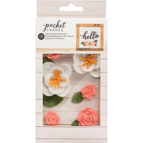 American Crafts - Pocket Frames Felt Flowers 12 per pack - Style No.1