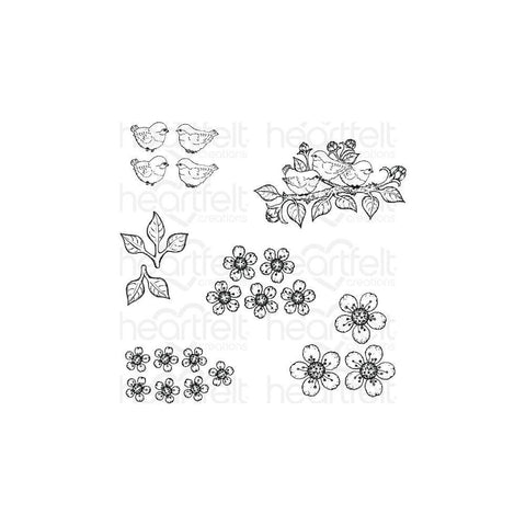 Heartfelt Creations Cling Rubber Stamps - Tweet Cherry Blossoms