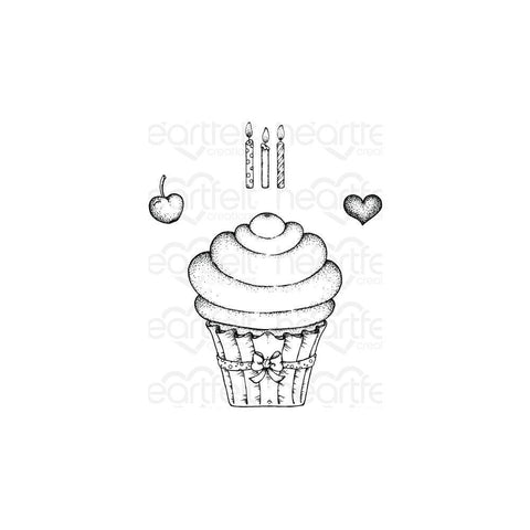 Heartfelt Creations Cling Rubber Stamps - Sugarspun Cupcake