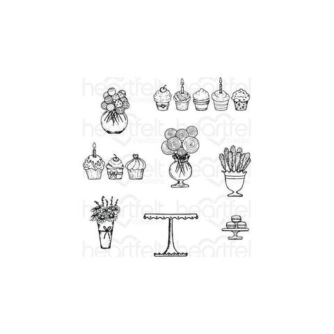 Heartfelt Creations Cling Rubber Stamps - Sweet Shoppe Treats