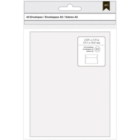 American Crafts - A2 Envelopes 4.375x5.75 inch, 50 pack - White