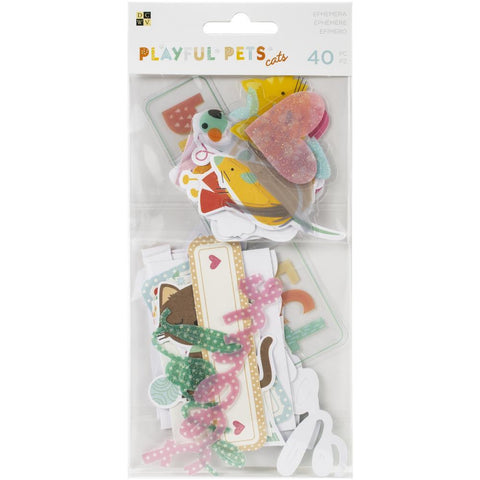 DCWV - Playful Pets Ephemera Die-Cuts 40 per pack - Cats with Iridescent Glitter Accents