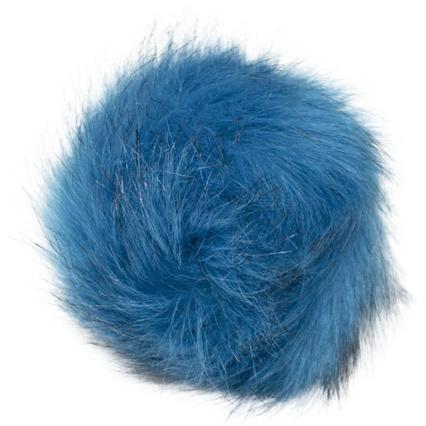 Faux Fur Pom With Loop - Turquoise