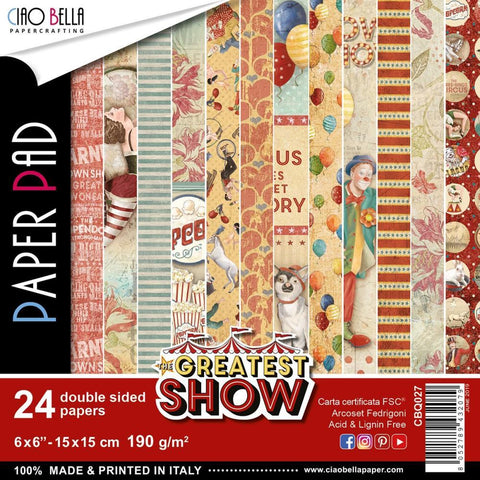 Ciao Bella D/Sided Paper Pack 90lb 6x6 inch 24 pack - The Greatest Show