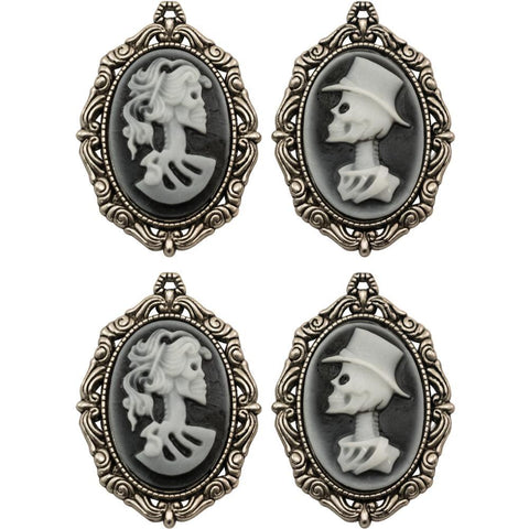 Tim Holtz - Idea-Ology Metal Crypt Cameos 4 pack - Antique Nickel, 2 Designs/2 Each