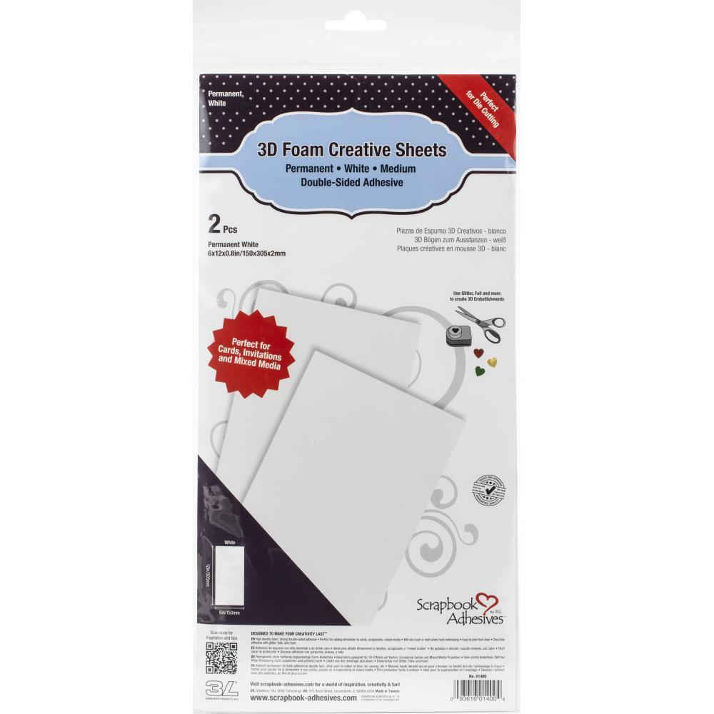 Scrapbook Adhesives - 3D Foam Creative Sheets 2 pack White - 6in x 12in