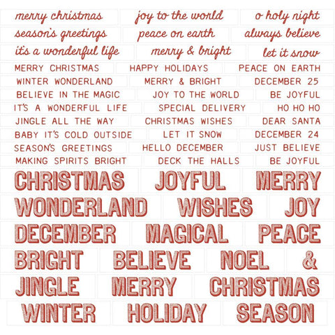 Tim Holtz - Idea-Ology Chipboard Quote Chips 52 pack - Christmas, Words & Phrases