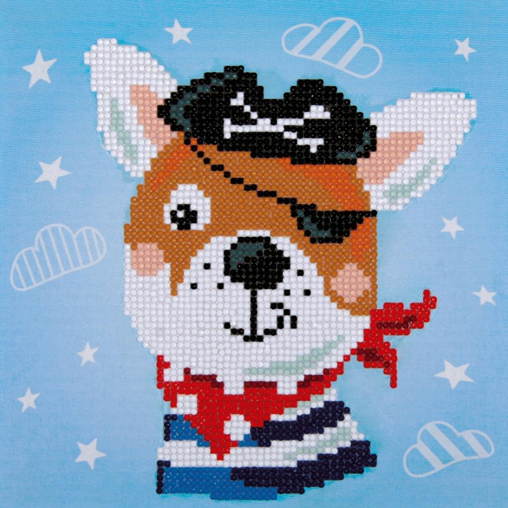Vervaco Diamond Art Beginner Kit with Frame 8.5in X 8.5in - Pirate Dog