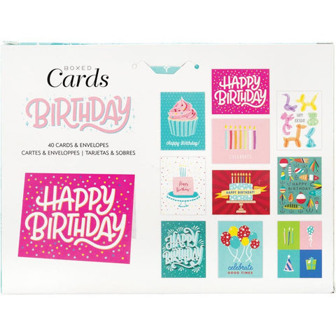 American Crafts A2 Blank Themed Cards with Envelopes 4in x 6in 40/Box - Birthday