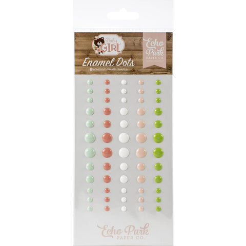 Echo Park Adhesive Enamel Dots 60 pack - Baby Girl