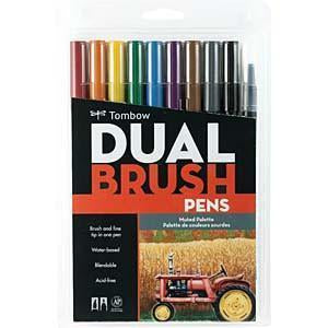 Tombow Dual Brush Pens 10 Pack Muted