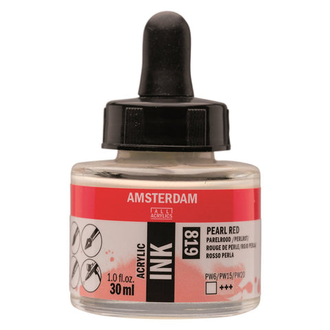 819 - Talens Amsterdam Acrylic Ink 30ml - Pearl Red