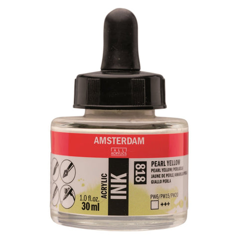 818 - Talens Amsterdam Acrylic Ink 30ml - Pearl Yellow