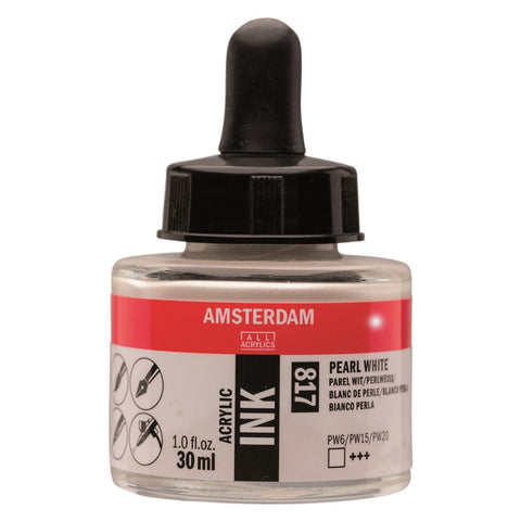 817 - Talens Amsterdam Acrylic Ink 30ml - Pearl White