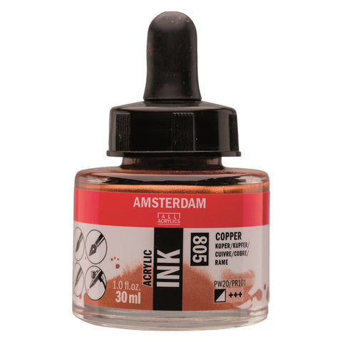 805 - Talens Amsterdam Acrylic Ink 30ml - Copper