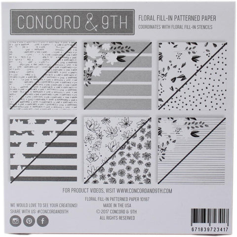 Concord & 9th - Patterned Paper Pad 6x6 inch - Floral Fill-In 24 sheets