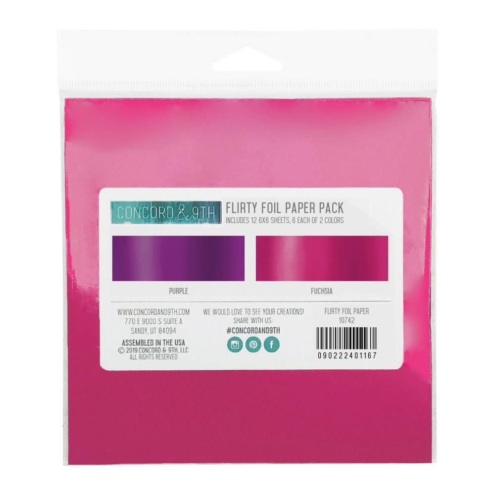 Concord & 9th Foil Paper Pack 6in x 6in, 12 Sheets - Flirty Foil