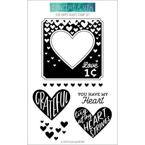 Concord & 9th Clear Stamps 4in x 6in - Sew Happy Hearts