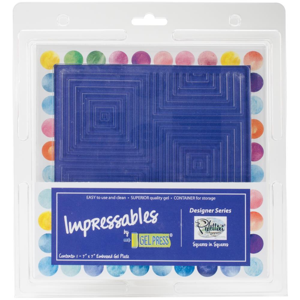 Gel Press Impressables 7x7 inch Embossed Gel Plate By Palettini - Squares In Squares