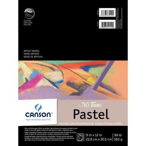 Canson Mi-Teintes Pastels Paper Pad 9x12 inch - Assorted Colours 24 Sheets