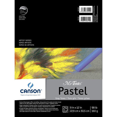 Canson Mi-Teintes Pastels Paper Pad 9x12 inch - Gray Tones 24 Sheets