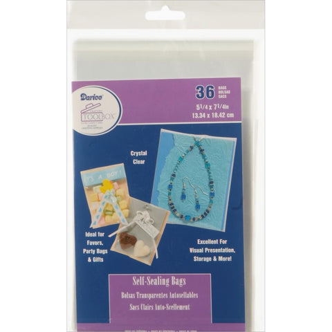 Darice Self-Sealing Bags 36 pack 5.25x7.25 inch Clear
