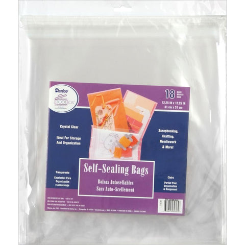 Darice Self-Sealing Bags 18 pack 12.25x12.25 inch - Clear