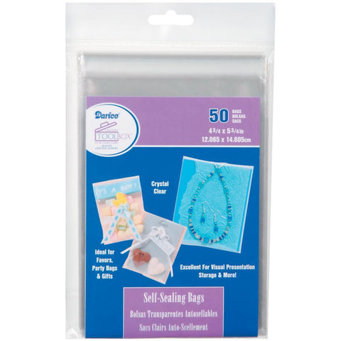 Darice Self-Sealing Bags  4.75x5.75inch Clear - 50 pk
