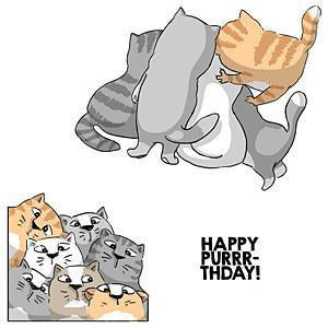 Art Impressions Front-N-Backs Cling Rubber Stamp 7In.X4in. Purrr-Thday