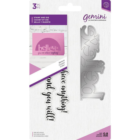 Crafter's Companion - Gemini Word Edge'Ables Stamp & Die - Believe