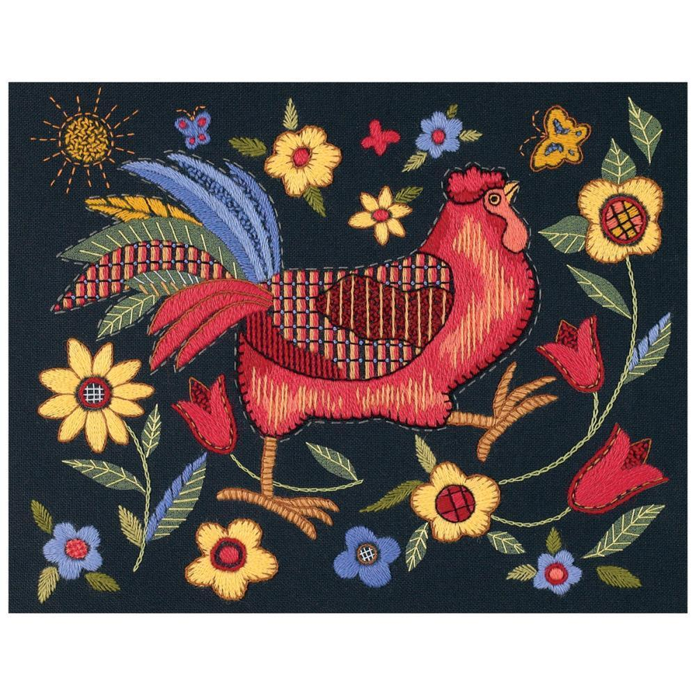 Dimensions Crewel Kit 11x14 inch - Rooster On Black-Stitched In Wool/Thread