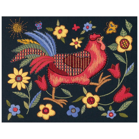 Dimensions Crewel Kit 11 inch X14 inch Rooster On Black-Stitched In Wool/Thread