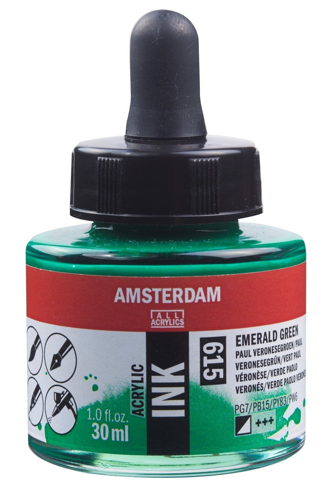 Talens Amsterdam Acrylic Ink 30ml - EMERALD GREEN - 615